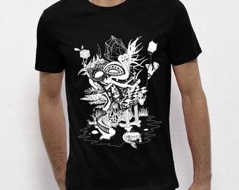 Hand Screenprinted T-shirt / Eden / Black