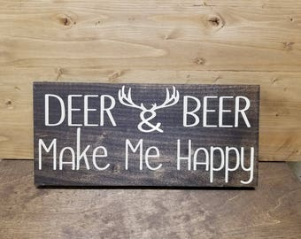 Hunters Man Cave Signs : Deer and beer make me happy outdoors man hunting