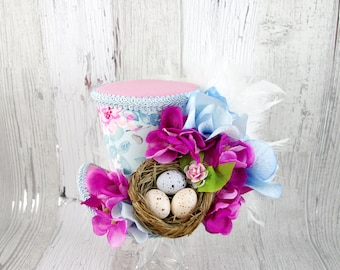 Pink and Blue Bird Nest Flower Garden Large Mini Top Hat Fascinator, Alice in Wonderland, Mad Hatter Tea Party, Derby Hat