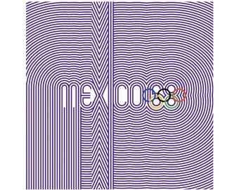 "MEXICO 68 Olympics Poster Mexico City Olympic Games PURPLE Ultra-High Quality Giclee Archival Print 24"" x 24"""
