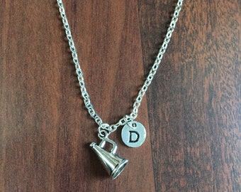 Megaphone Initial Necklace, Personalized Blowhorn Pendant, Cheerleader gift, Coach Necklace, Megaphone Charm Necklace