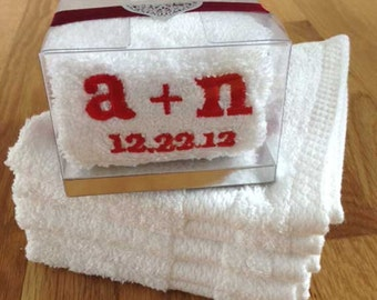 25 'Initials + Wedding Date' Embroidered Wash Cloths for Wedding FAVORS