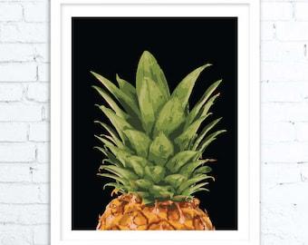 Pineapple Decor, Pineapple Wall Art, Pineapple Art, Pineapple Printable, Tropical Print, TropicalArt, Tropical Decor, Tropical Gift