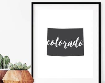 Colorado Wall Art | Colorado Printable | Colorado Art Print | Colorado State Art | State Silhouette | Colorado State Sign