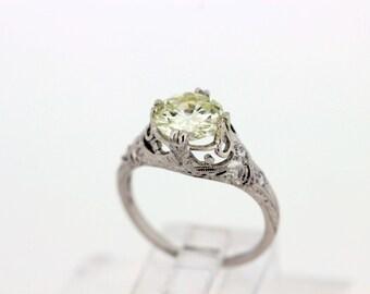 14K Gold Engraved Diamond Ring