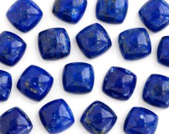 Square Lapis Cabochons | ONE 8mm x 8mm Square Cushion Lapis Lazuli Cabochon Royal Blue Golden Pyrite |