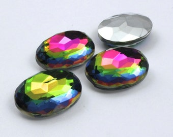 18mm x 25mm Faceted Vitrail Medium Oval Cabochon #21