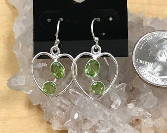 Peridot Heart Earrings