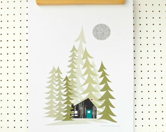 SALE Log Cabin in the Woods Art Print A3 Alpine Forest Trees Outdoors Poster Green Turquoise Brown on White