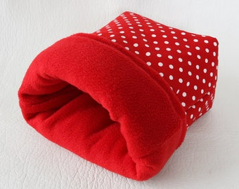 """cuddle bag / cosy sleeping bag """"red with white dots"""" for guinea pigs"""