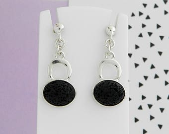 Lava black and Silver earrings