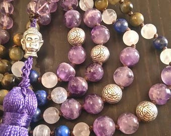 Amethyst Mala necklace, purple necklace, 108 Meditation beads, Gift for mum, Yoga jewelry, japa mala, buddhist jewelry, gift for wife