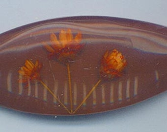 Two beautiful and unusual long vintage lucite cabochons with orange dried flowers - beautiful burgundy brown - 75 x 28 mm