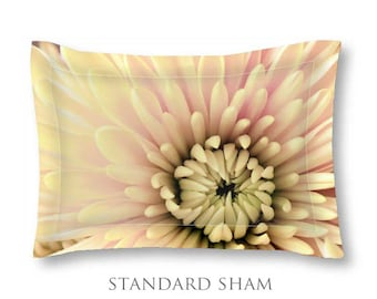 Yellow Pillow Sham-Floral Pillow Sham-Standard Pillow Sham-King Pillow Sham-Flower Pillow Cover-Floral Bed Pillow-Cottage Chic Bedding