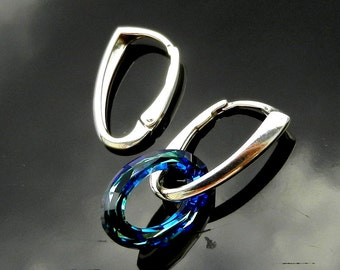 Sterling Silver Lever Back ear earrings 925 Swarovski 1 PAIR European Earwires