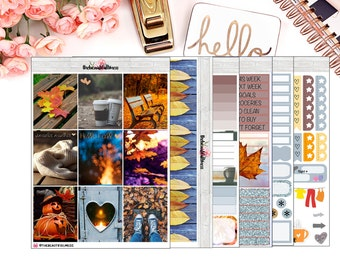 Hello Fall Planner Stickers / Erin Condren Vertical Weekly Stickers / Full Kit