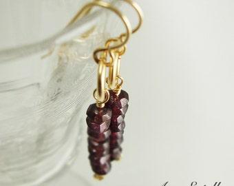 Garnet Earrings - Gold-Filled Gemstone Earrings - Red Earrings - January Birthday