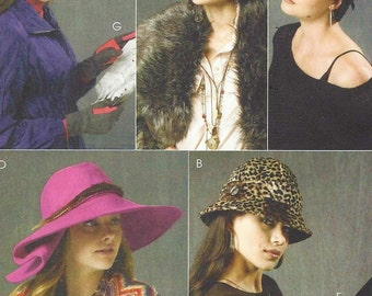 Womens Hats and Gloves 5 Hat Styles and 2 Glove Styles OOP McCalls Sewing Pattern M6664 UnCut Hat XS S M L Gloves S M L