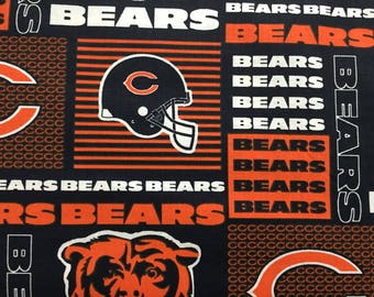 "CHICAGO BEARS nfl 60"" Cotton Fabric By The Yard All Over Patchwork Print Fabric Traditions"