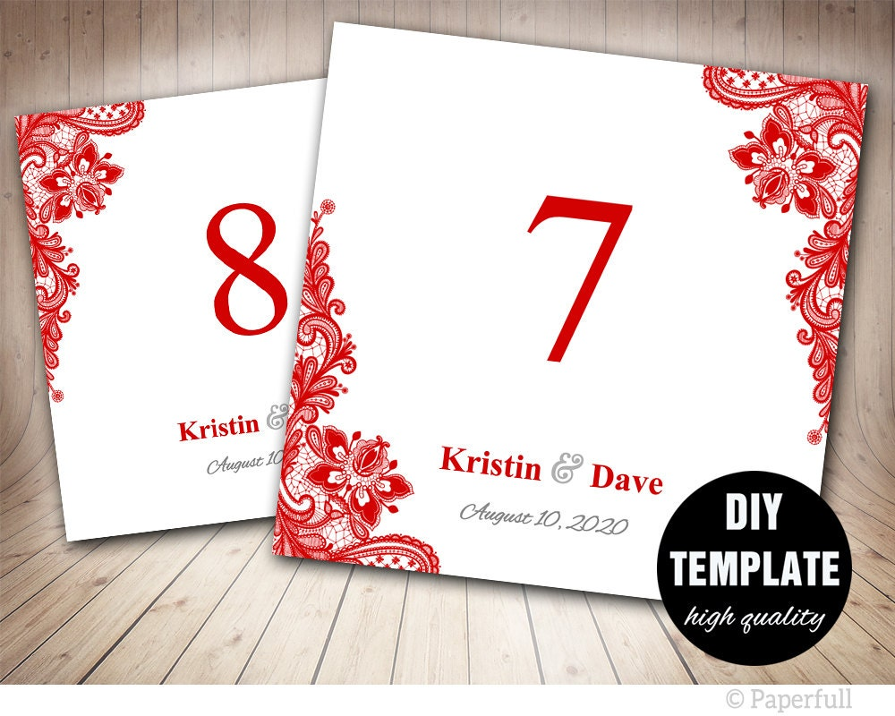 Red Table Number Card Template Lace Table Card Template 5x5