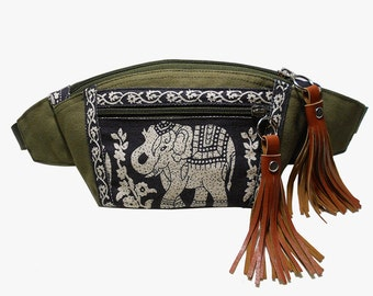 Fanny pack Dark Olive Green Black Elephant/fanny pack/Hip Bags/belt bag/bum bag/bags/fanny pack festival/waist bag/boho bag/buy 3 get 1 free