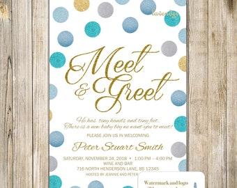 Meet and greet invitation silver pink glitters meet the baby meet and greet invitation gold blue glitters meet the baby invite sip and see m4hsunfo