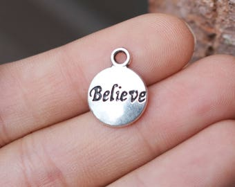 set of 100, believe disc charms, silver charms, metal charms, bulk charms, 15mm x 12mm, circle charms,