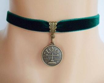 green velvet choker, libra choker, libra necklace, zodiac charm, antique bronze