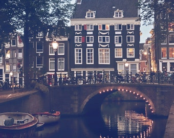 Amsterdam Photography, Canal Photo, Bridge Photo, Windows Photography, Amsterdam Print, Architecture Print, Urban Photography, City Lights