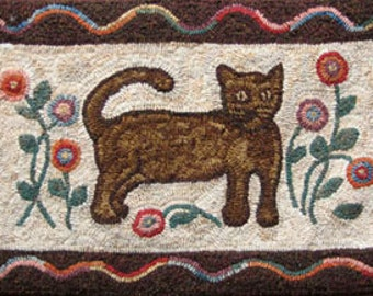 Rug Hooking PATTERN Garden Cat on linen