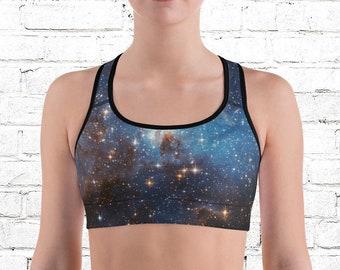 Galaxy Sports bra, star Sports bra, celestial Sports bra, blue nebula Sports bra, nerdy yoga bra, outer space Sports bra, geek Sports bra