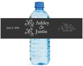 New Fashioned Wedding Water bottle labels also great for Anniversary engagement party rehearsal dinners, special events