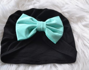black turban hat, baby turban, toddler turban, adult turban, black and aqua