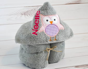 Towel - Hooded Towel - Baby Towel - Toddler Towel - Kids Bath Towel - Embroidered Towel - Owl Towel - Personalized Towel - Birthday Gift