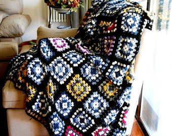crochet blanket pure Merino wool, Granny square afghan, Wedding gift, cottage chic crochet afghan, Custom made double Bed cover