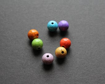 7 multi color acrylic beads 12 mm Crackle effect