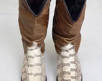Original 1970s Vintage American Snakeskin Cowboy Boots UK Size 4