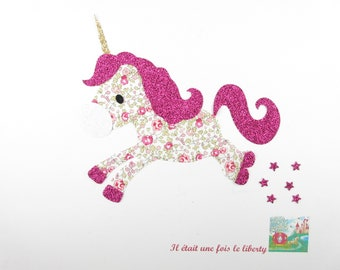 Applied fusing baby Unicorn fabric liberty Eloise pink flex glitter patch iron on applique liberty fusing badges