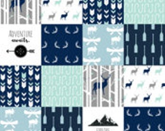 Wild Lake Patchwork Print Minky Blanket or Quilt