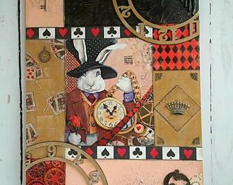 Mixed Media wall decor - Print Mounted on Wood - Alice in Wonderland, White Rabbit