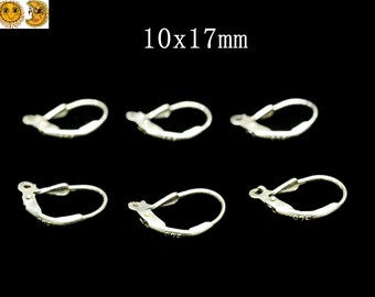 5pair(10 pcs) 925 Sterling Silver French Earring Hook Earwires 10x17mm