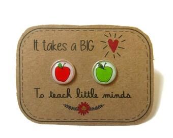 Thank you GIFT for TEACHERS - Teacher gift - Apple Earrings - teacher appreciation - professor gift - minimal earrings - teacher gifts apple