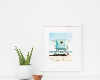 Vertical Framed Art, White Wooden Frame, Lifeguard Tower, California Beach, Coastal Decor, Beach Living, Coastal Home, Colorful Wall Art