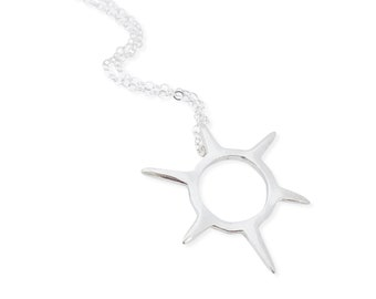 Mini Sunburst Pendant - Spike Necklace - Sterling Silver Small Burst Necklace