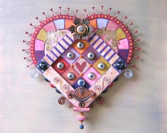 Victorian Secrets, Original Found Object Wall Sculpture, Wood Carving, Valentine, Wall Decor, Heart Art, by Fig Jam Studio