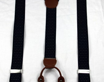 Men wedding Suspenders.3.5cm/1.38'' width,navy blue white dots , lengthened fathers suspenders,gray wedding suspenders, groomsman Suspenders