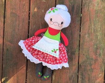 Mrs Claus Doll - Plush - Handmade - Mrs Claus Softie - Toy - Stuffed Animal - Decoration - Gift for Kids - Christmas Gift