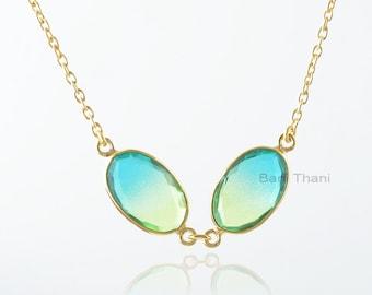Tourmaline Quartz Necklace, Bio Tourmaline Quartz 12x17mm Oval Gemstone Silver Necklace, Gold Plated Necklace, Wedding Gift For Women