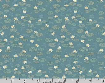 Lily Pad Fabric, Lewis & Irene Down by the River A223 2 Lily Pads on Teal, Floral Quilt Fabric, Cotton Yardage