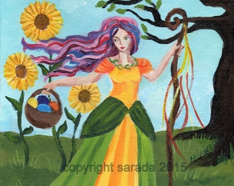 Easter spring witch original art  8 x 10 acrylic painting Ostara Eostre nature, eggs, sunflowers, pink purple hair gothic psychedelic woman
